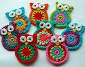 Crochet Owl Applique large size. Price for one owl. - AnnieDesign
