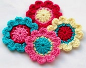 Crochet Flower Motifs in Pink, Turquoise and Cream