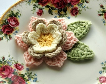 Crochet Flower in Pink, Cream and Yellow