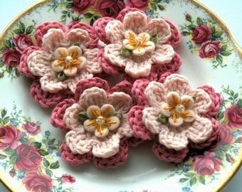 Pink Crochet Flowers in Organic Cotton x 4