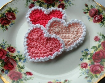 Pink and White Crochet Hearts