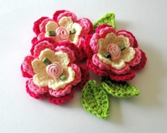 Crochet Flowers - Pink and Cream Roses