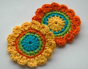 Crochet Applique - Yellow, orange and Turquoise