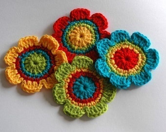 Crochet Applique Motifs - Rainbow Shades