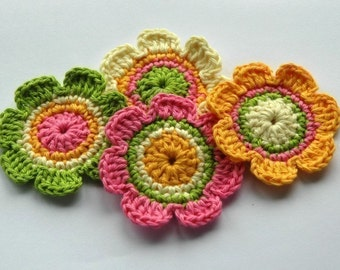 Crochet Applique in Fresh Floral Shades
