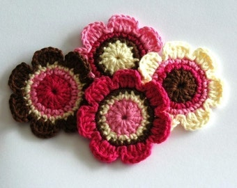 Crochet Applique for Embellishment - Pink and Brown