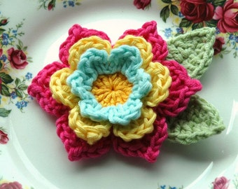 Crochet Flower in Hot  Pink, Yellow and Pale Blue