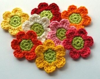 Crochet  Flowers - summer bright rainbow applique
