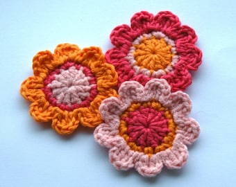 Crochet Flowers in Raspberry, Orange and Pink