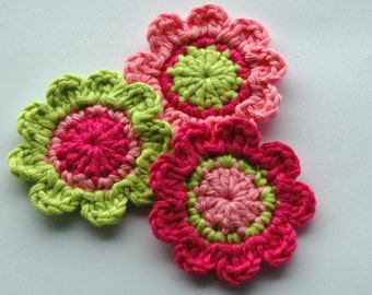 Crochet Flowers in Hot Pink, Candy Pink and Lime