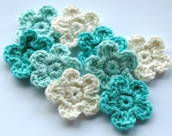 Crochet Flowers in blue and cream x 9