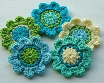 Crochet Flower Motifs - turquoise, peacock blue, aqua, lime