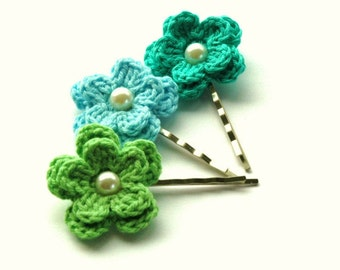 Crochet Flower Bobby Pins Hair Clips - Apple Green, Blue and Aqua