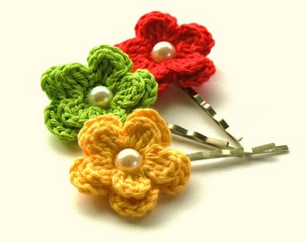 Crochet Flowers Bobby Pins in  Yellow, Lime and Red