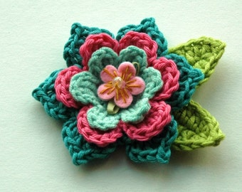 Crochet Flower in Raspberry Pink and Teal Blue