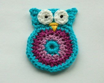 Crochet Owl Applique large size in Turquoise and Purple