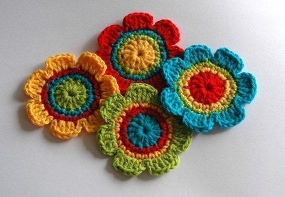 NEW Crochet Motifs for Embellishment - Rainbow Shades