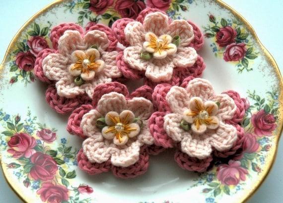 Pink Crochet Flowers in Organic Cotton x4