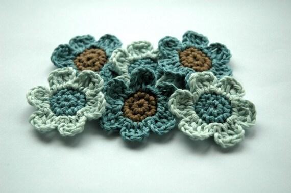 Organic Cotton Applique Flowers in Blue
