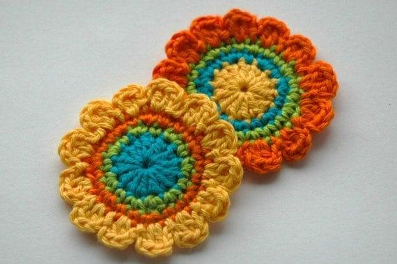 Crochet Applique - Yellow, orange and Turquoise
