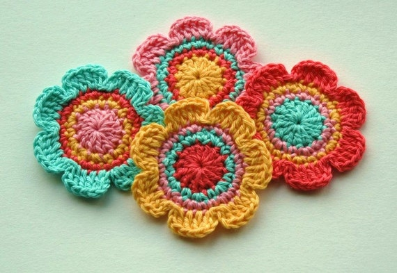 Crochet Flower Motifs in Tangerine, Yellow, Pink and Aqua