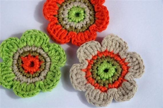 Crochet Applique circular Motifs x 3