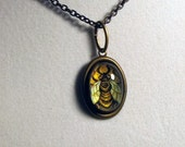 The Honey Bee -- Brass Pendant with Original Artwork