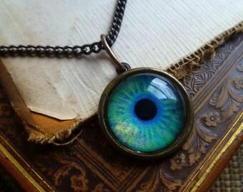 Iris Charm -- Aquamarine / Large -- Brass Eye Pendant