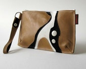 SALE - Ad Hoc Bag No. 1 - Wristlet in Honey Brown, Ivory and Black - Eco-Friendly