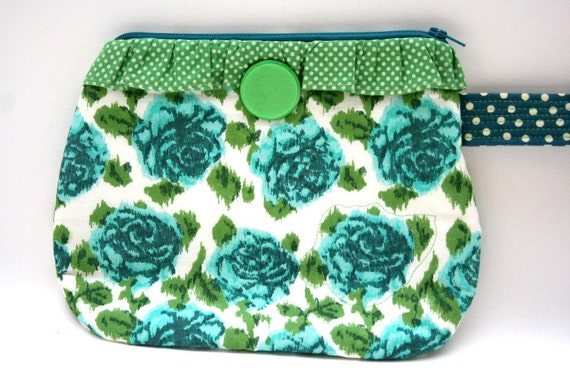 Teal Blue and Green Floral Ruffled Wristlet Repurposed Anthropologie