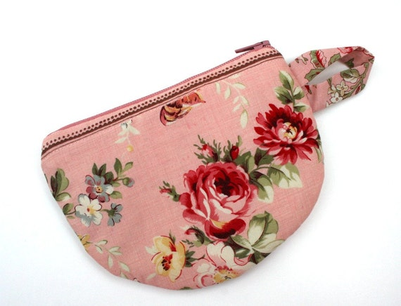 Tea cup tea bag wallet zippered pouch roses pink by andreacreates