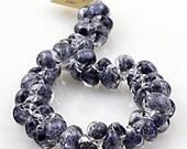 10 Black Galaxy Teardrops - Handmade Lampwork Glass 10mm Boro Beads (1874)