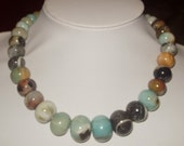 Multicolor Amazonite Graduated Oval Rondelle Beads - 16 inch strand
