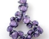 10 Handmade Teardrop Lampwork Glass 13 mm Boro Beads, GlitterTwilight (22097)