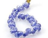 10 Periwinkle Blue 10mm Teardrop Beads - Handmade Lampwork Boro Glass 11mm (21816)