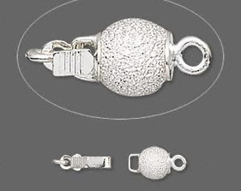 Silver Stardust Glitter Ball Pinch-Tab Box Clasp - 6mm