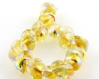 10 Dandelion Teardrop Handmade Dichroic Lampwork Beads - 11mm (2005)