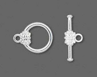10 Silver-plated Toggle Clasps with Flower Medallion, 16mm x 14mm