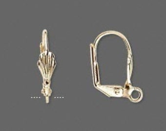 24 Gold-plated Lever-back Earwires with Shell and Open Loop