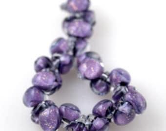 10 Handmade Teardrop Lampwork Glass 13 mm Boro Beads, GlitterTwilight (2097)