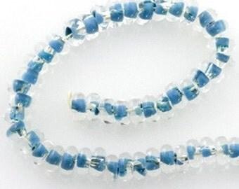 10 Handmade Blue Sky 10mm Boro Donut Spacer Beads (21288)
