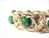 Hemp Bracelet-- Forest Green Wood Beads in Undyed Fiber