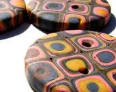 Medium Klimt Buttons-- Yellow, Blue, Pink