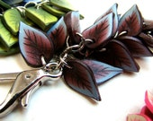Purse Jewelry-- Burgundy and Blue Leaves