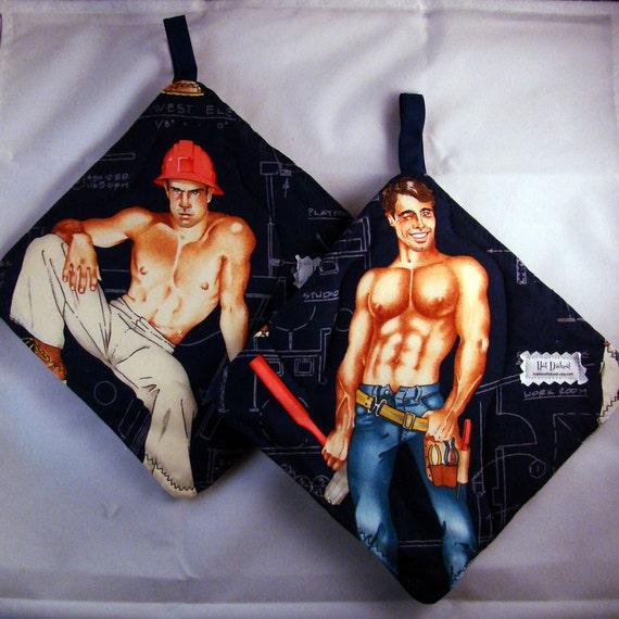 Hot Dishes - Shirtless Constuction Worker Pot Holders