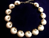 RESERVED FOR DONNA Trifari 1960s White Cabochon Link Necklace Choker