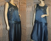 20's Flapper Dress Stunning Peacock Blue Silk Beaded Gown - Display Piece - MorningGlorious