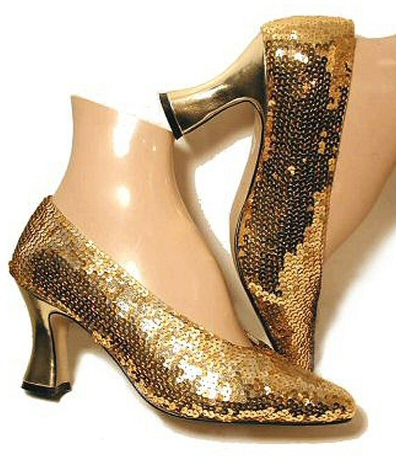 gold sequin 1920s style vintage french dance shoes louis heel