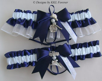 Firefighter Wedding Garters  Maltese Cross Charm Handmade Navy Blue and White Garters