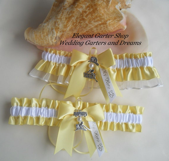 Firefighter Wedding Garters I Love My Fireman By